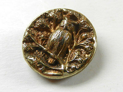 Antique Victorian Brass Metal Picture Button Owl on Tree Branch
