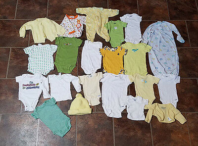 Huge Lot of 21 Neutral Baby Clothes