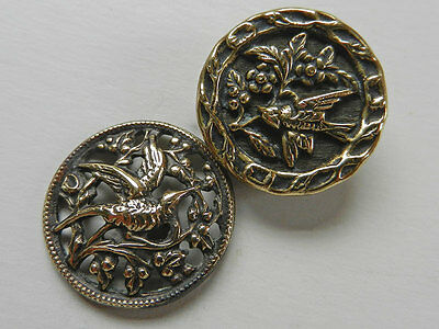 Pretty Antique Victorian Metal Picture Buttons with Birds and Branches