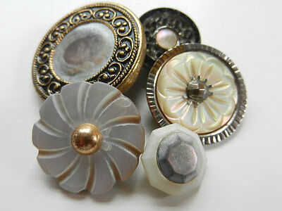 Variety Lot of Antique Vintage Buttons with Metal and Mother of Pearl