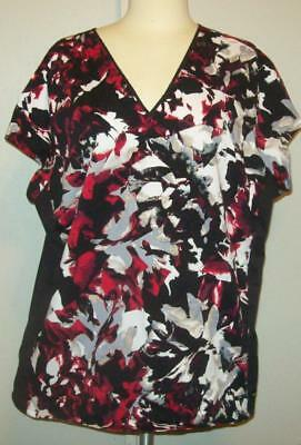 Landau Womens XXL 2X Black & Red Print Scrub Shirt Uniform Top