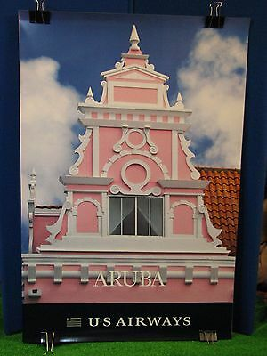 "Vintage Original US Airways Travel Poster 36 x 24"" Aruba Airport Travel Agency"