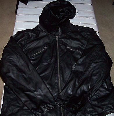 New Look Faux Leather Hooded Black Jacket Coat Womens Plus Size 2X Zip Up Front