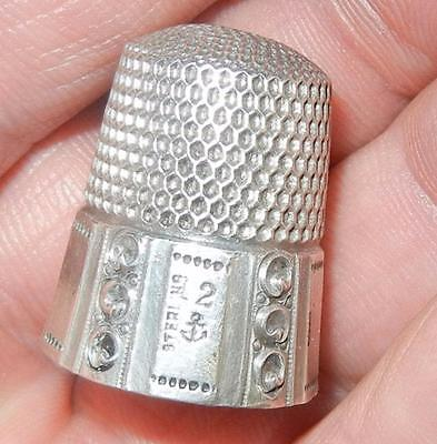 Antique Fancy Multi Sided Sterling Silver Sewing Thimble Size 12