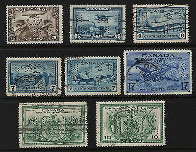 OPC Canada Airmail Special Delivery Lot of 8 Small 4 Hole OHMS Perfins Used