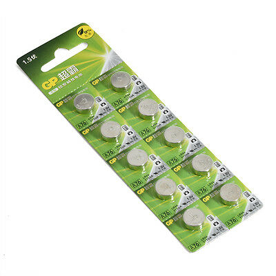 10pcs 1.5V GP LR44 AG13 A76 SR66 Button Cell Coin Battery Batteries Newly