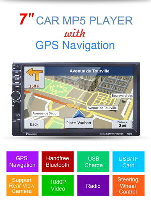 "7"" HD 2 Din Car GPS Navigation Bluetooth Stereo MP3 Player FM Radio MP3 Camera"