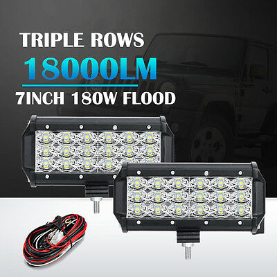 "2X7"" 180W 8D CREE Tri-Rows Flood Beam LED Work Lights Bar SUV UTE Car Jeep 20"""