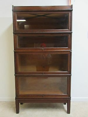 Vintage Oak Hale Barrister Book Case Shelf display 4 Section Stack D