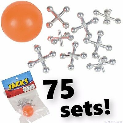 75 Sets Of Metal Steel Jacks With Super Red Rubber Ball Game Classic Toy Kids