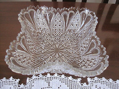 Davidson 1903 Pat 415701 Hearts And Diamonds Square Pressed Glass Bowl