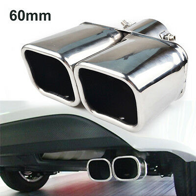 Universal Car Dual Twin Stainless Steel Chrome Exhaust Tail Rear Muffler Pipe