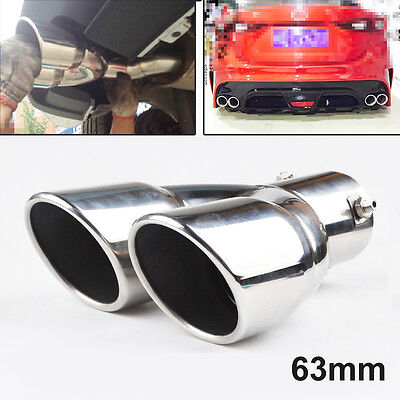Universal 63mm Dual Twin Stainless Steel Chrome Exhaust Tail Rear Muffler Pipe