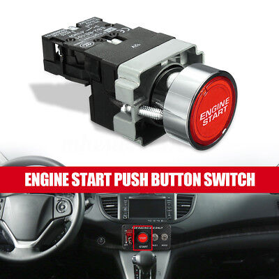Red LED Illuminated Car Engine Power Start Ignition Starter Push Button Switch