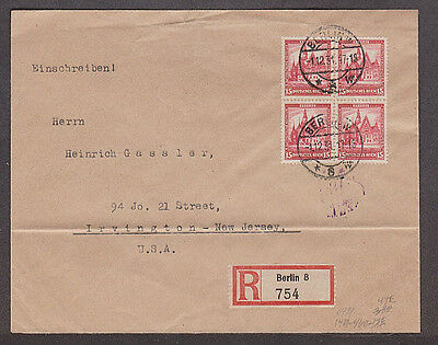 Germany  - 1931 registered cover with block of 4 Michel #460 stamps