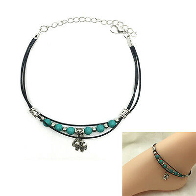 Boho Women Leather Chain Anklet Ankle Barefoot Bracelet Turquoise Beads Beach