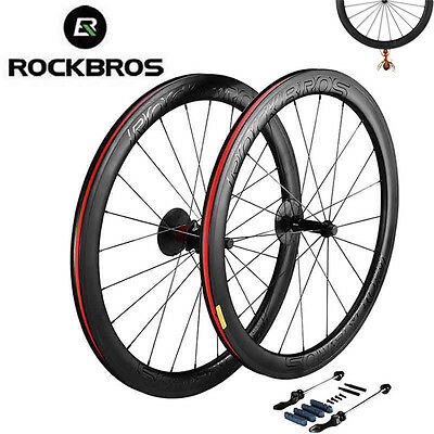 RockBros 38mm-50mm Carbon Fiber Wheelset 700C Road Racing Bike Bicycle Wheels