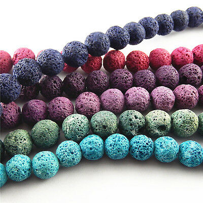 20x Mixed Colors 12/14mm Natural Rock Lava Stone Loose Beads DIY Jewelry Ctafts