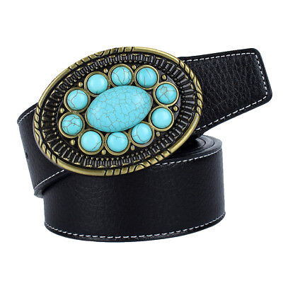 Western Genuine Fiber Leather Belt Oval Turquoise Stone Buckle Belt 3.8cm