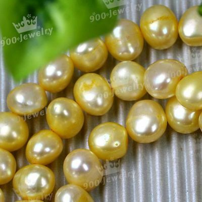 "8-9Mm Cultured Freshwater Bright Gold Pearl Beads 14""l"
