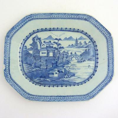 18Th Century Chinese Blue And White Porcelain Meat Plate Platter