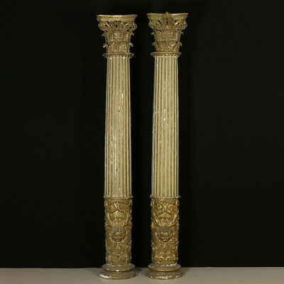 Important Lacquered and Gilded Grooved Columns Late 17th Century