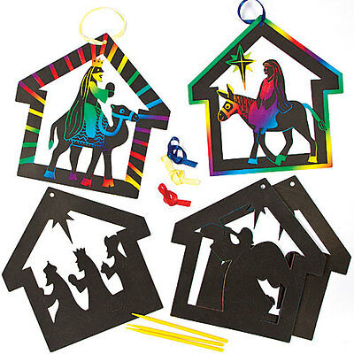 Nativity Scratch Art Hanging Decorations for Children to Make (Pack of 6)