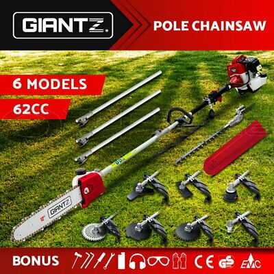 Giantz 62CC Pole Chainsaw Brush Cutter Whipper Snipper Hedge Trimmer Multi Tool