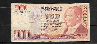 Turkey #201 1988  Vg Used 20000 Lira Banknote Paper Money Currency Bill Note