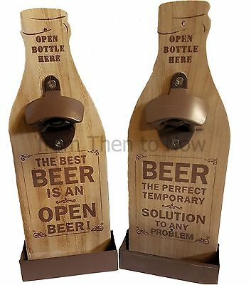 Vintage Wooden Beer Bottle Opener Wall Mounted Cap Catcher Chic Shabby Rustic