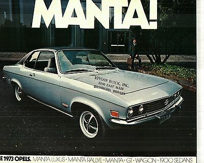 1973 Opel Manta & Gt Sold By Buick Deluxe Color Sales Catalog - Germany