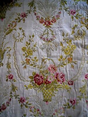 Antique French Silk Jacquard Fabric  19Th-Century  Marie Antoinette
