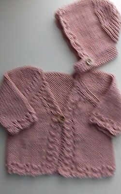 Brand new Newborn,Hand knitted baby cardigan and bonnet,pink sirdar cotton