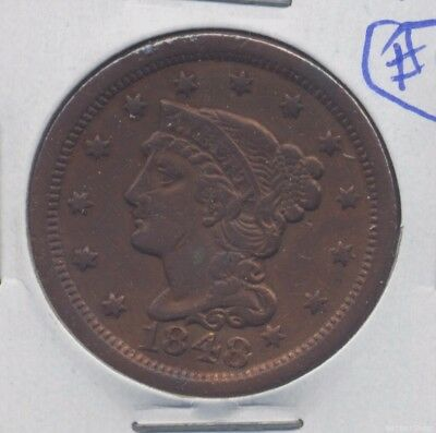 1848 Braided Hair US Large Cent. XF, cleaned. (lot#4)