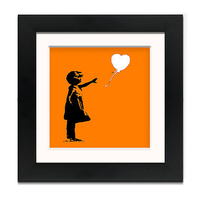 Banksy Balloon Girl Orange – Street Art – Professionally Framed Square art pr...