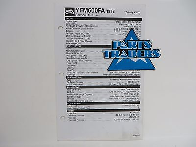 Yamaha Quick Reference Service Manual Spec Data Sheet YFM600FA Grizzly 4WD 1998