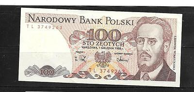 POLAND #143e 1988 MINT CRISP 100 ZLOTYCH OLD bill BANKNOTE PAPER MONEY CURRENC