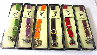Two's Company Majestic Austrian Crystal Ribbon Bookmarks 6 Regal Crowns Velvet