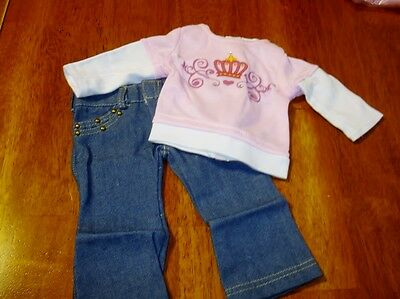 Jeans and Princess Shirt doll clothES fits 18' Doll Clothes for American Girl