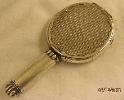 Antique Sterling Silver Hand Mirror W/ Lipstick Case Art Deco Era W/ Hallmark
