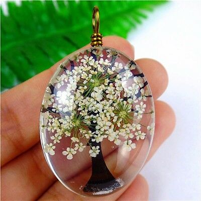 1Pcs Delicate White Crystal Dried Flower Oval Pendant Bead 40*30*15mm AE2637