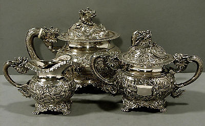 Chinese Export Silver Tea Set    DRAGON & WARRIORS