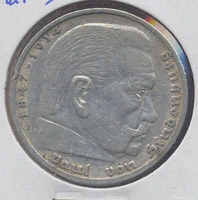 1936E XF silver German 5 marks. Third Reich 5 Reichsmarks issue with Swastika