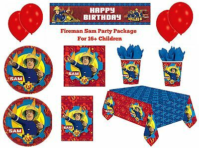 Kids Fireman Sam Birthday Party Package for Boys & Girls Decorations, Tableware