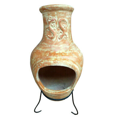Charles Bentley Outdoor Large Terracotta Clay Chiminea Chiminea Patio Heater