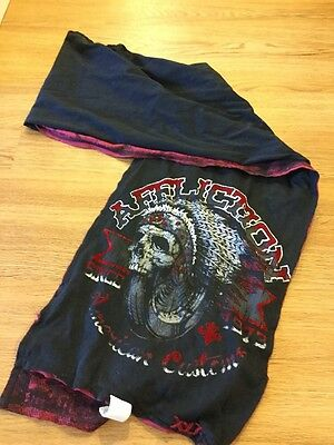 NWT Men's Affliction Reversible Scarf With Logo Black Red New