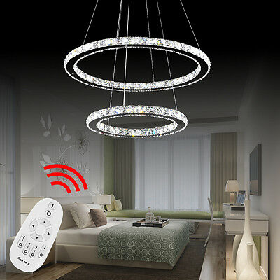 kristall deckenbeleuchtung pendelleuchte mit 2 led ring lichter kronleuchter eur 64 00. Black Bedroom Furniture Sets. Home Design Ideas
