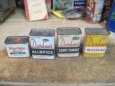 spice tin DURKEE'S  store 4 METAL CANS VINTAGE EMPTY ADVERTISING ALLSPICE MUSTAR