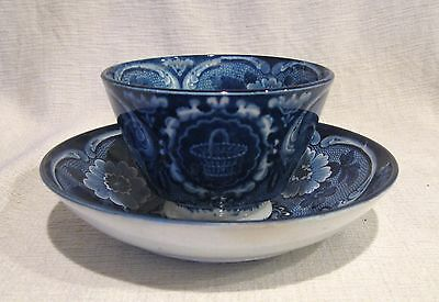 Stubbs & Kent Longport Flow Blue Basket and Flowers Handless Cup and Saucer