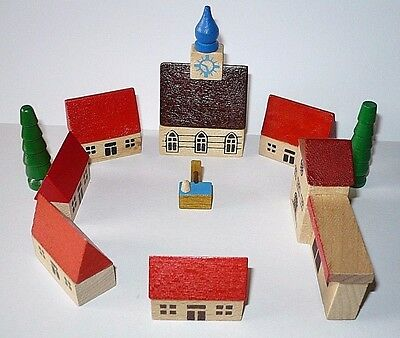 German toy Christmas mini village Erzgebirge wood church station house well tree